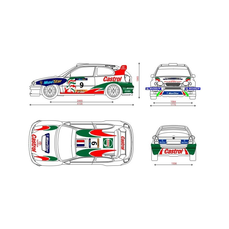 Toyota corolla 1998 castrol wrc full rally graphics kit